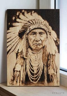 Native american portrait pyrography/ woodburning by FirePaintings
