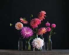 Not the flower or colour, but inspiration for flower arrangements using varied height glassware/vases.  Dahlia Arrangement
