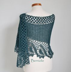 Crochet shawl scarf lace Teal Blue merino/cotton M216 by Berniolie, $89.00 https://www.facebook.com/Berniolie-440248762699969/?ref=hl