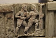 Orestes kills Aegisthus. Sandstone. Metope from the temple of Hera at the mouth of the river Sele. Mid-6th century B.C. Paestum, National Archaeological Museum.