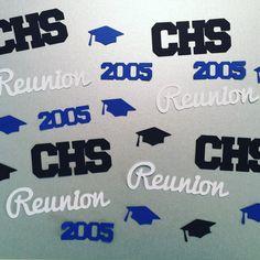 School Reunion Confetti Including Grad Caps by PapercutsConfetti