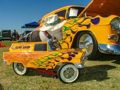 1955 Chevrolet Sedan Delivery with matching pedal car.