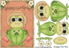 Happy Birthday Frog Card Front and Decoupage by designer Sue Way