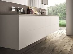 Double wall-mounted vanity unit with drawers Cubik Collection by IdeaGroup