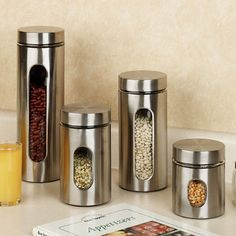 Palladian Stainless Steel Window Canister Set