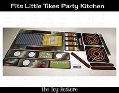 New Replacement Decals Stickers fits Little Tikes Party Kitchen (No Clock) Squar #TheToyRestore  #Upcycle #PlayKitchen #Kitchen #LittleTikes #stove #burner #PartyKitchen #VintageLittleTikes