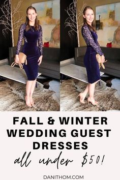 Affordable Fall/Winter Wedding Guest Dresses Under $50 - fashion blogger Dani Thompson shares a round up of wedding guest dresses perfect for a fall or winter wedding, all under $50! #fallweddingguestdress #winterweddingguestdress #affordableweddingguestdress 50 Fashion, Fashion Bloggers, Girl Fashion, Winter Wedding Guests, The Blushed Nudes, Feminine Style, Girl Boss, Stylish Outfits, Fall Winter