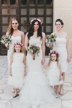 The bridal party and the sweet flower girls: http://www.stylemepretty.com/little-black-book-blog/2015/01/13/modern-fall-wedding-at-santa-barbara-historical-museum/   Photography: Studio Castillero - http://studiocastillero.com/