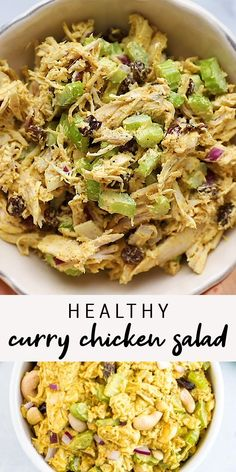 Easy recipe for healthy curry chicken salad! This chicken salad has crunch from cashews, celery and onion, and sweetness from raisins. YUM! It is perfect for meal prep, lunches, and picnics. This flavorful chicken salad is the BEST healthy curry chicken salad!