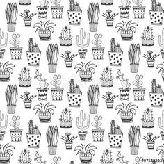 """Download the royalty-free vector """"Succulent and cactus pattern. Doodle flowers in pots background."""" designed by worldion at the lowest price on Fotolia.com. Browse our cheap image bank online to find the perfect stock vector for your marketing projects!"""