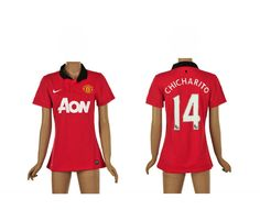 #maillotfemme Manchester United Femme Maillot Football Domicile 2013/2014 Nike Collection(14 Chicharito)