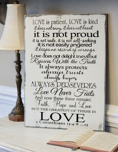 Love Is Patient, Love is Kind Carved Wooden Sign Carved Wood Signs, Wooden Signs, Rustic Wedding Guest Book, Decor Wedding, Love Is Patient, Pallet Signs, Wood Letters, Rustic Signs, Perfect Wedding