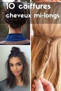 Coiffure a faire sur cheveux mi long Easy To Do Hairstyles, Twist Hairstyles, Pretty Hairstyles, Medium Hair Styles, Curly Hair Styles, Simple Ponytails, Hair Color Techniques, French Twist Hair, Hair Ribbons