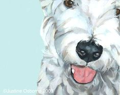 dog art by Paintmydog - portrait of a Westie Terrier Close Up Art, Bow Wow, Close Up Pictures, Westies, Animal Paintings, Dog Art, Mans Best Friend, Pet Portraits, Colorful Backgrounds