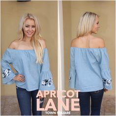 Yes please! $42 and a must-have! Listen this off the shoulder trend isn't stopping. #offtheshoulder #denim #shopalb #apricotlane