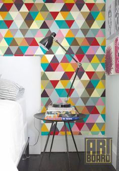 "Colorful mosaic Pattern - self adhesive DIY wallpaper, home decor, Peel n Stick 20.9""x 8' G041"