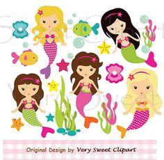 Pretty mermaid sea animals fish clipart by VerySweetClipart, $4.25