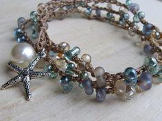 Crochet Beach Wrap Bracelet by valleybeadglassart on Etsy