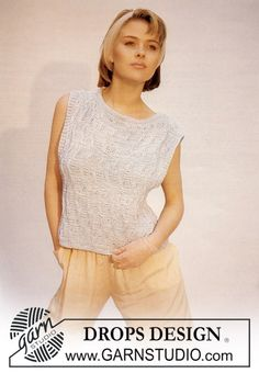 """DROPS sleeveless top with purled pattern and cables in """"Retinella"""". Size S – L. ~ DROPS Design"""