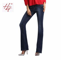 W03 HG brand  women flare jeans retro style bell bottom skinny jeans female deep blue solid wide leg denim pants young lady