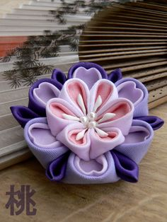 Hairclip or brooch tsumami kanzashi. Big flower by MomoKanzashi