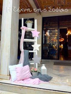 Sofia's art (Texni tis Sofias)'s Baptism / Stars - Photo Gallery at Catch My Party Baptism Decorations, Wedding Decorations, Baptism Party, Baptism Ideas, Christening Photos, Baby Shawer, Little Star, Ladder Decor, Diy And Crafts