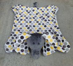 Yellow & Grey Polka Dot Elephant Minky Blanket / Toy / Stuffed Animal