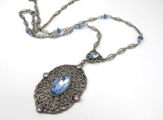 Vintage Art Deco Necklace Lavalier Blue Pink Rhinestones Silver Filigree Metal 30 Inches Long (48.00 USD) by TonettesTreasures