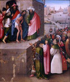 Hieronymus Bosch ('s-Hertogenbosch um 1450 - 1516) Ecce Homo (um 1495)  Bosch malte seine Darstellung des gegeißelten Jesus vor dem Volk im Auftrag einer Stifterfamilie, die unten in den Bildecken dargestellt war. Wohl schon im 16. oder 17. Jahrhundert waren diese Figuren beschädigt und übermalt worden; die heute sichtbaren Reste wurden erst vor wenigen Jahren wieder freigelegt. Der unterschiedliche Maßstab der Figuren spiegelt ihre Bedeutung. So sind die Kinder sehr viel kleiner…