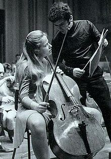 """Jacqueline du Pré with husband Daniel Barenboim. Ms. du Pré was particularly associated with Elgar's Cello Concerto in E Minor; her interpretation has been described as """"definitive"""" and """"legendary."""" Her career was cut short by multiple sclerosis, which forced her to stop performing at 28 and led to her premature death."""