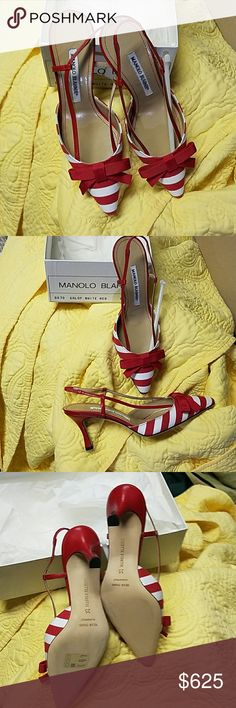 Manolo Blahnik shoes Show stopping striped heels! Beautiful condition. Tried on a couple times, but never worn. Manolo Blahnik Shoes Heels