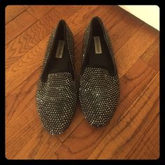 Steve Madden Rhinestoned Loafers size 9 Black with rhinestones. Only wore a few times. Steve Madden Shoes Flats & Loafers