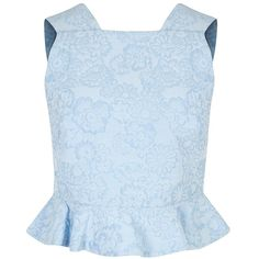 Womens Crop Tops Erdem Frankie Blue Ruffled Cloqué Top ($275) ❤ liked on Polyvore featuring tops, shirts, crop tops, blue crop top, flounce top, ruffle hem top, ruffle top and flutter-sleeve top