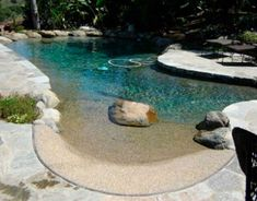 This is actually a Natural Pool. Fresh water, NO chlorine or harsh chemicals! It's fast becoming the newest 'rage' in pool construction. They can look natural, like this or even more so, or have a more typical 'pool' look Beach Entry Pool, Backyard Beach, Backyard Paradise, Beach Pool, Backyard Pools, Backyard Landscaping, Indoor Pools, Beach Walk, My Pool