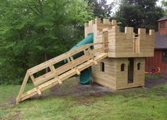 DIY Castle Playhouse Plans. I think this would be better with a ladder instead of that huge ramp. Also has how to add swing bar