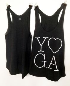 Classic Black and White Yoga Love tank. Super Soft tri blend available in sizes Small, Medium, and Large.