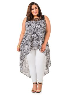 Lace Yoke HiLo Duster - Ashley Stewart