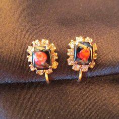 Elegant Vintage Rose and Rhinestone Screw on Earrings by DresdenCreations on Etsy https://www.etsy.com/listing/175953669/elegant-vintage-rose-and-rhinestone