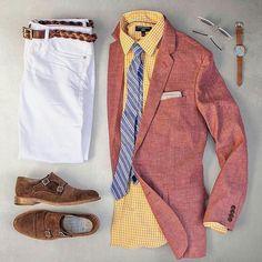 Smart Summer Grid by @matthewgraber   Follow  @stylishgridgame    Brands ⤵ Jacket: @jcrew Shirt: @bananarepublic Jeans + Belt: @bonobos Shoes: @paraboot_france Watch: @shinola Sunglasses: @rayban Tie: @weekendcasual × @sprezzabox Pocket Square: @glasshouseshirtmakers