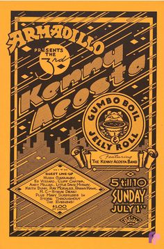 1979 Armadillo poster for Kenny Acosta by Guy Juke.