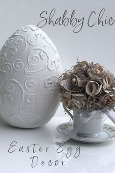 Let's have fun decorating for Easter! Turn your plastic egg to a shabby chic home decor accent. Super easy directons Just That Perfect Piece Dollar Tree Pumpkins, Dollar Tree Crafts, Rustic Christmas Ornaments, Diy Christmas Ornaments, Christmas Tablescapes, Paint Stir Sticks, Theme Noel, Diy Pumpkin, Diy Bow