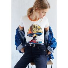 Music Series Ringer Tee ($39) via Polyvore featuring tops, t-shirts, allman brothers, vintage graphic t shirts, slimming tops, graphic print t shirts, graphic tops and blue tee