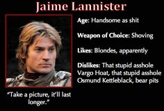 """Game of Thrones Trading Cards - Jaime """"Handsome as shit"""" Lannister"""