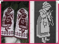 Mittens with girls knitting Knitted Mittens Pattern, Knit Mittens, Knitting Socks, Hand Knitting, Crochet Chart, Filet Crochet, Knit Crochet, Knitting Charts, Knitting Patterns