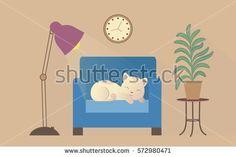 Vector illustration sleeping cat on an armchair