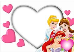 White Kids Transparent Photo Frame with Princesses