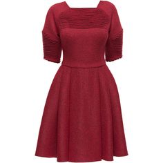 LATTORI Red Longing, Milled Wool Dress with Gathers (550 BAM) ❤ liked on Polyvore featuring dresses, long ruched dress, short sleeve dress, long sleeve day dress, short long dresses and ruching dress