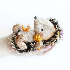 Halloween Hedgehog with Pumpkin  5 inches by KittyAprilHandmade, $75.00
