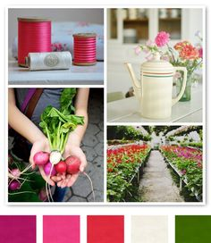 Sweet pinks, reds and greens. I like this combo!