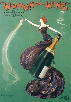 Woman & Wine Vintage Wine Poster by Dudley Hardy Retro Vintage, Vintage Wine, Vintage Labels, Wine Advertising, Advertising Poster, Art Du Vin, Illustrations, Illustration Art, Etiquette Vintage